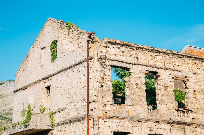 War damaged building in Mostar, Bosnia and Herzegovina royalty free stock images