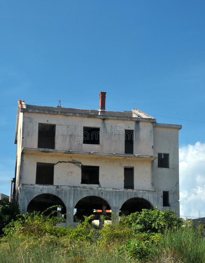 War damaged house in Bosnia from Serb forces royalty free stock photo
