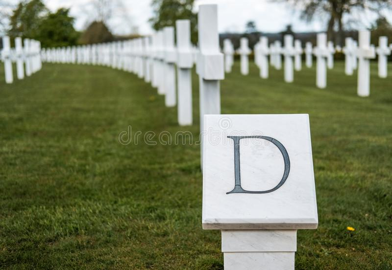 War dead gravestones seen in a well maintained American cemetery. royalty free stock photography