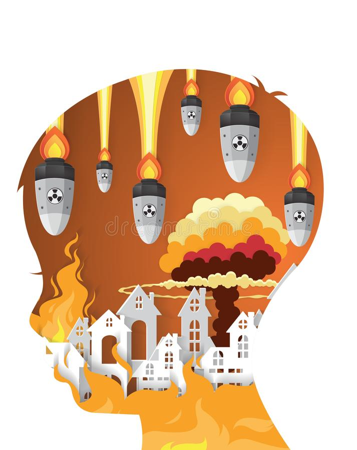 War Destroyed City Village with fire in child head. Paper art style stock illustration