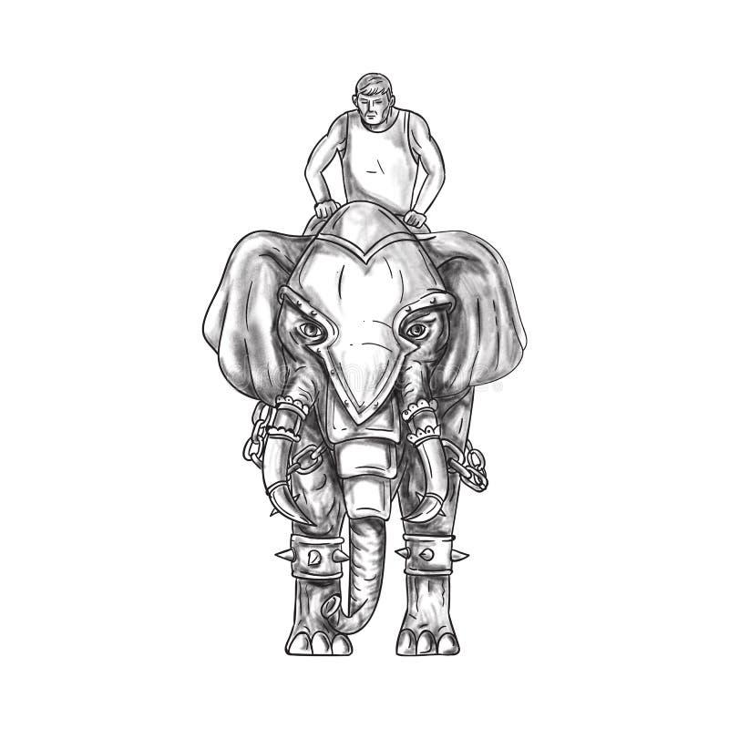 war elephant mahout rider tattoo stock illustration illustration of rider charcoal 85932689. Black Bedroom Furniture Sets. Home Design Ideas