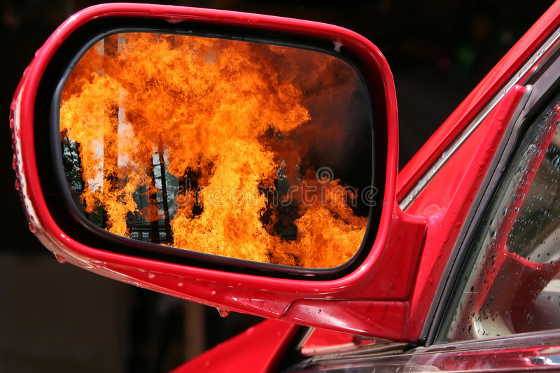 War explosion in the world mirror royalty free stock images