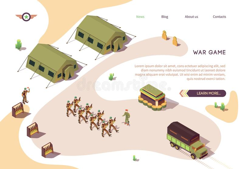 War Game Banner with Military Base Camp in Dessert. Army and Force Vehicles. Soldier in Uniform Marching. Military Tents and Stands with Weapons. Full Combat vector illustration