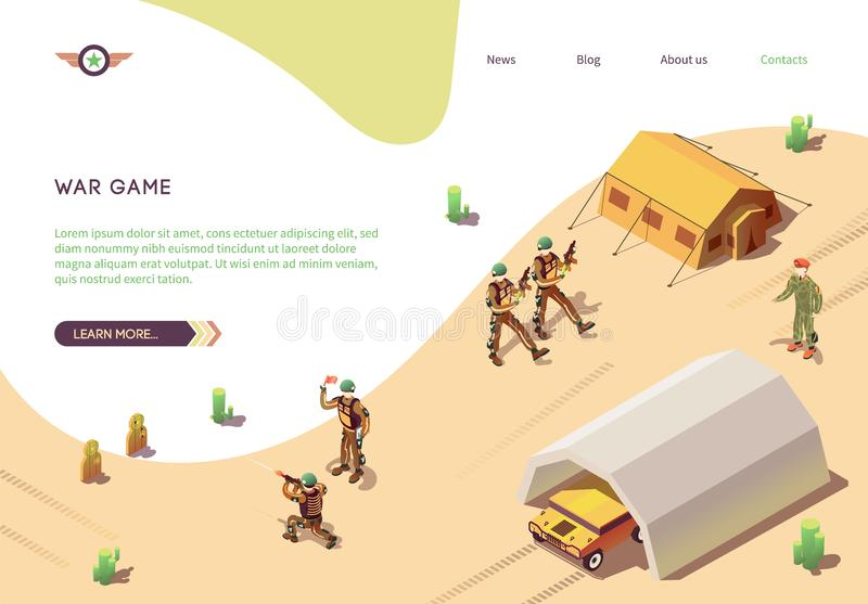 War Game Banner with Military Training Army Camp. BTR in Hangar, Marching Soldiers in Desert Camouflage with Weapons, Rifle Marksman, Battalion Commander vector illustration