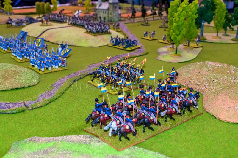 War game board with armies. Buildings and trees royalty free stock photography