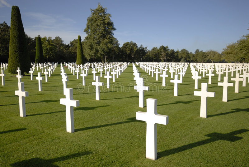 War Graves in Normandy. White marble grave stones at the American Cemetery near Omaha Beach in Normandy, France stock photos
