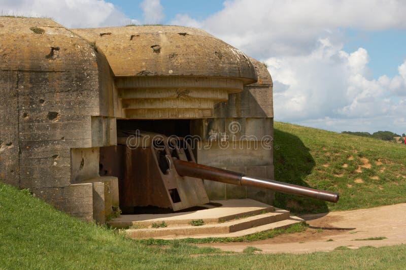 War guns. Remains of a German bunker of World War II at Longues-sur-Mer, Normandy, France stock images