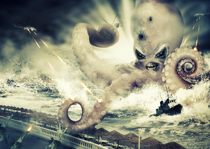 War with a large sea monster - octopus alien. War with a large evil sea monster - octopus alien stock images