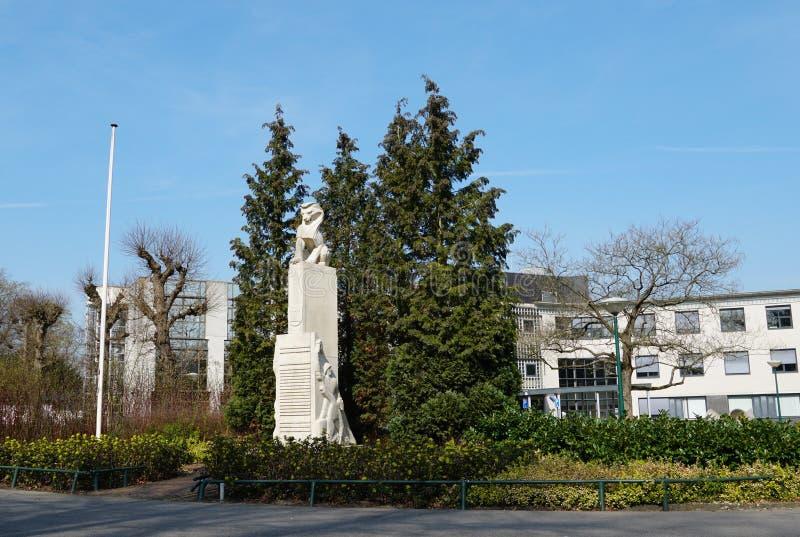 War memorial in Bilthoven in the Netherlands. Bilthoven, the Netherlands. March 2019. War memorial in the village of Bilthoven in the Netherlands stock photography