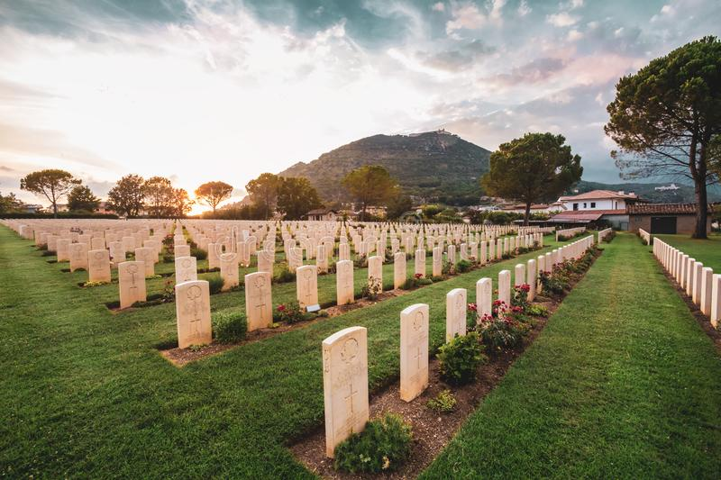 War memorial Canadian tombstones. Cassino, Italy. Cassino / Italy - August 17, 2019: War memorial Canadian tombstones. Commonwealth Cemetery of Cassino in Italy stock photos