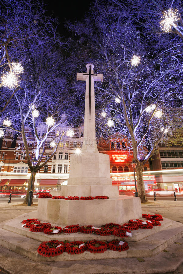 War memorial with Christmas Lights Display. On Sloane Square in Chelsea, London royalty free stock photography