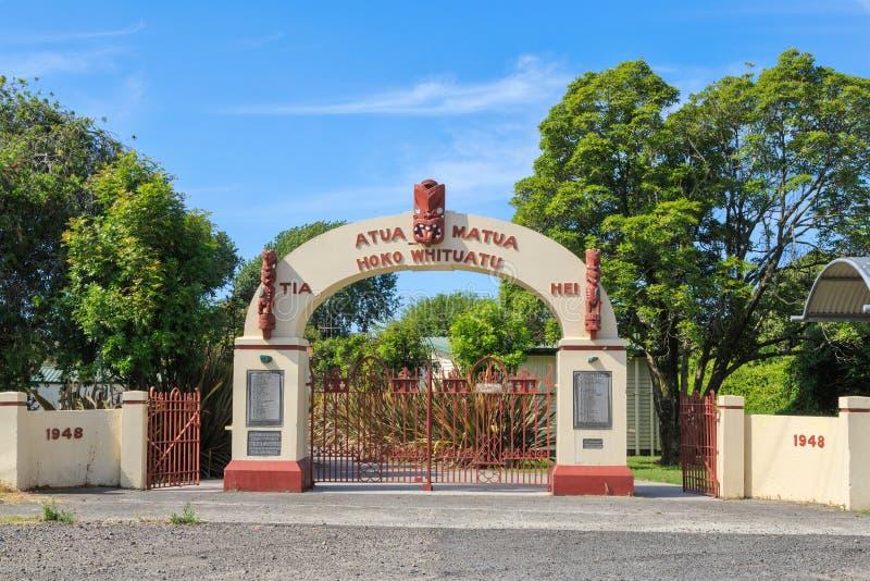 War memorial gate in New Zealand, with Maori artwork stock photography