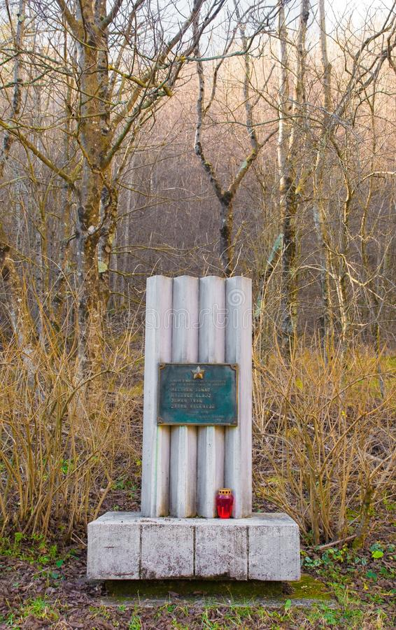 War Memorial Near Breginj. Breginj, Slovenia - December 8th 2018. A commemorative memorial outside the village of Kred near Breginjin Primorska, Slovenia stock image