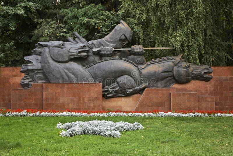 War Memorial in Panfilov park. Almaty. Kazakhstan.  royalty free stock photo