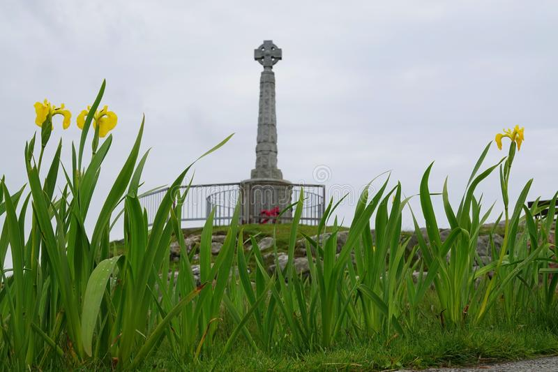War memorial and flag irises. The war memorial surrounded by flag irises on the island of Tiree in Scotland royalty free stock photography