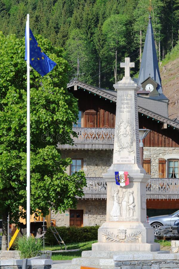 First World War Memorial in french village Les Gets stock image