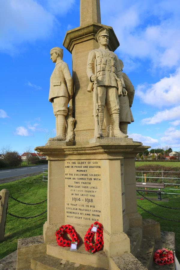 Village war memorial in England. The war memorial in the village of East Brent in Somerset, England on Remembrance Sunday 2017 stock photography