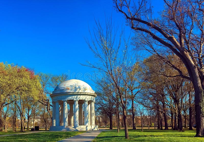 THE WAR MEMORIAL, WASHINGTON DC. The memorial stands in West Potomac Park off of Independence Avenue in a grove of trees. this memorial honors World War I stock image