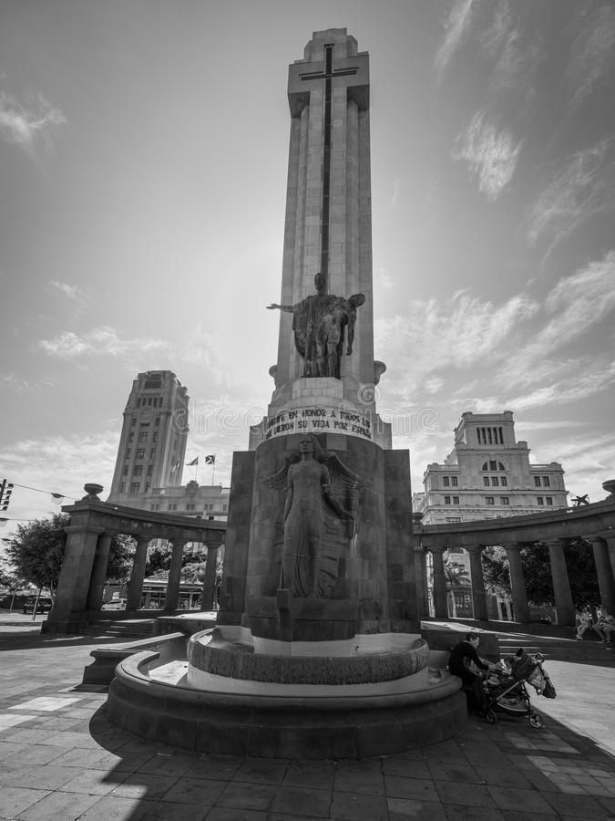 War monument in the Santa Cruz de Tenerife, Canary Islands, Spain royalty free stock photo