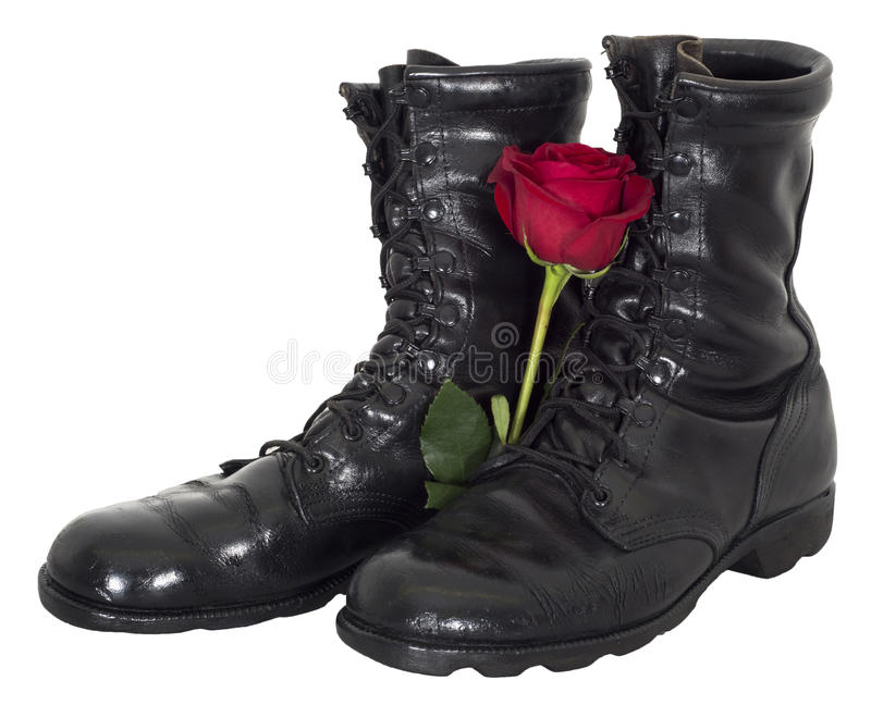 War and Peace Abstract Concept, Isolated. A pair of black military tactical army boots with a rose flower creates an abstract concept for war and peace. Isolated royalty free stock photography