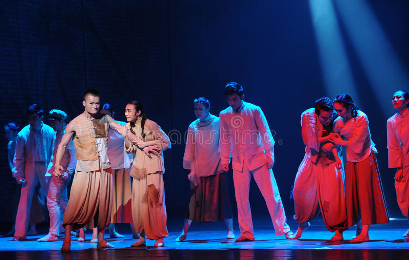 The war refugees-The third act of dance drama-Shawan events of the past. Guangdong Shawan Town is the hometown of ballet music, the past focuses on the royalty free stock photo