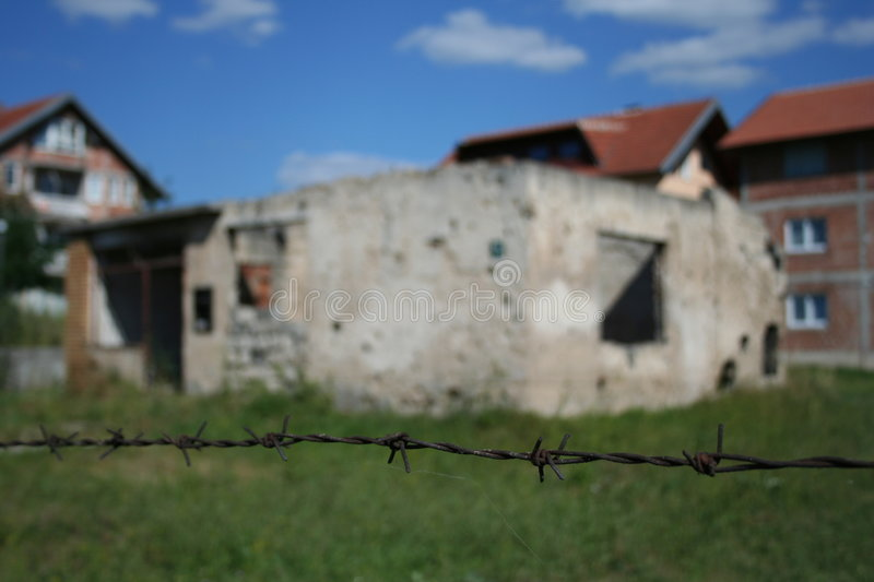War in Sarajevo. Example of a destroyed home in Sarajevo, after the war (manually out of focus royalty free stock photos