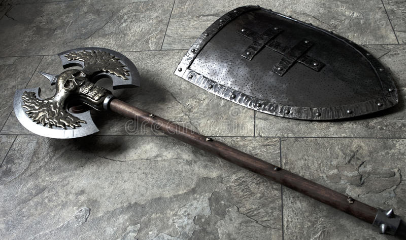 War shield and axe stock images