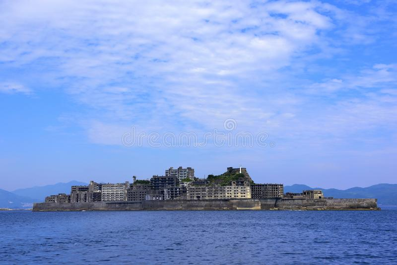 War ship island Unesco world heritage. It look like war ship.but coal miner used to live on this island till 1970. Its located in Japan royalty free stock photography