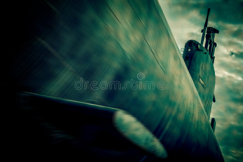 War submarine fight. Blurred style photo royalty free stock image