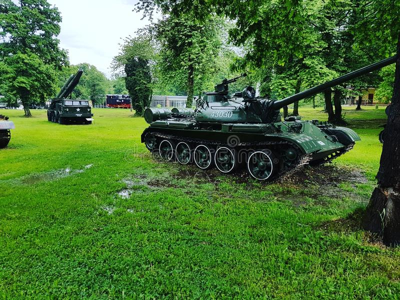War tanks at Arsenal Park. The territory of Arsenal Park has a strong military load. During the Second World War it was the second European ammunition producer stock photos