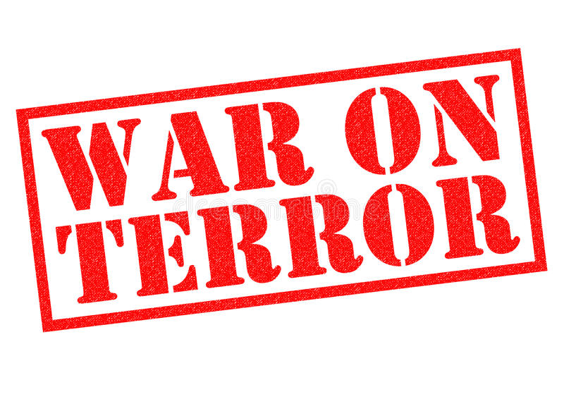 WAR ON TERROR. Red Rubber Stamp over a white background stock illustration