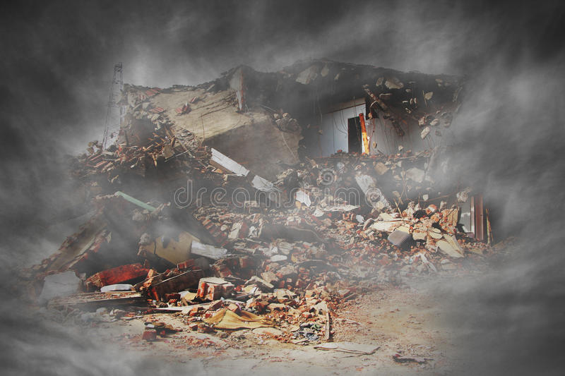 After war. A view of a house distroyed by a war royalty free stock photography