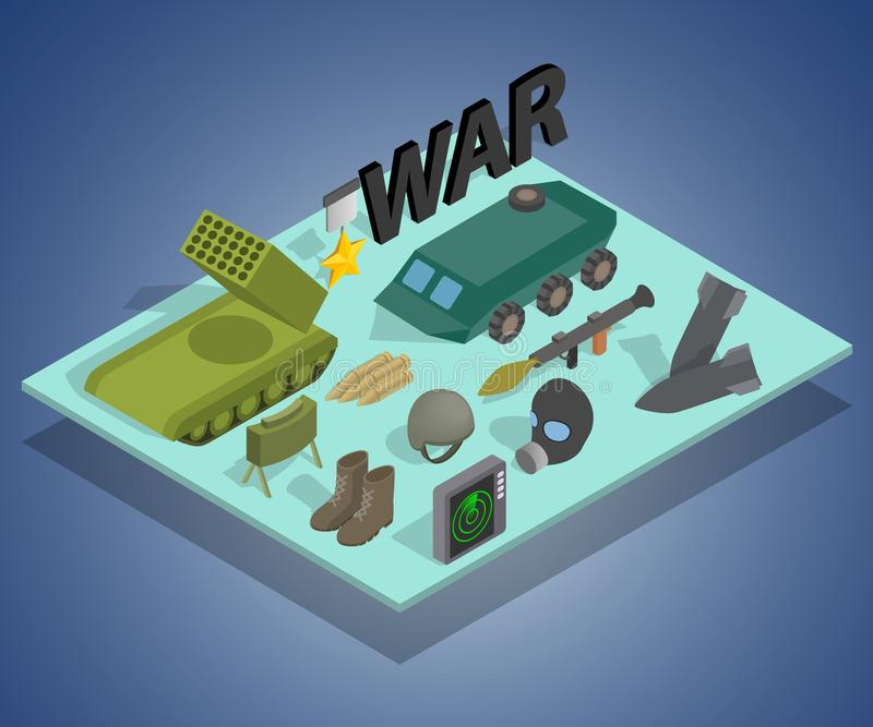War way concept banner, isometric style. War way concept banner. Isometric banner of war way vector concept for web, giftcard and postcard stock illustration
