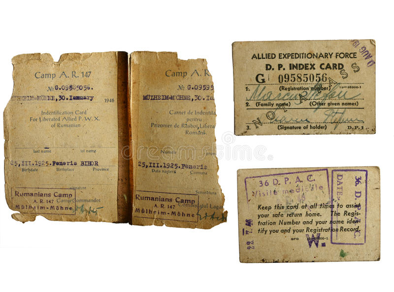 Download War world 2 POW documents stock image. Image of 1946 - 20420313
