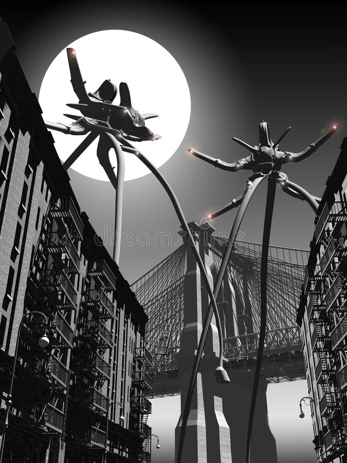 War of the Worlds 3. Based on the novel War of the Worlds by H.G. Wells. two martian tripods attack the city causing death and destruction royalty free illustration