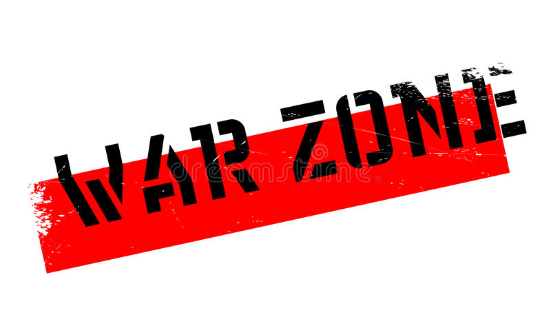 War Zone rubber stamp. Grunge design with dust scratches. Effects can be easily removed for a clean, crisp look. Color is easily changed stock illustration