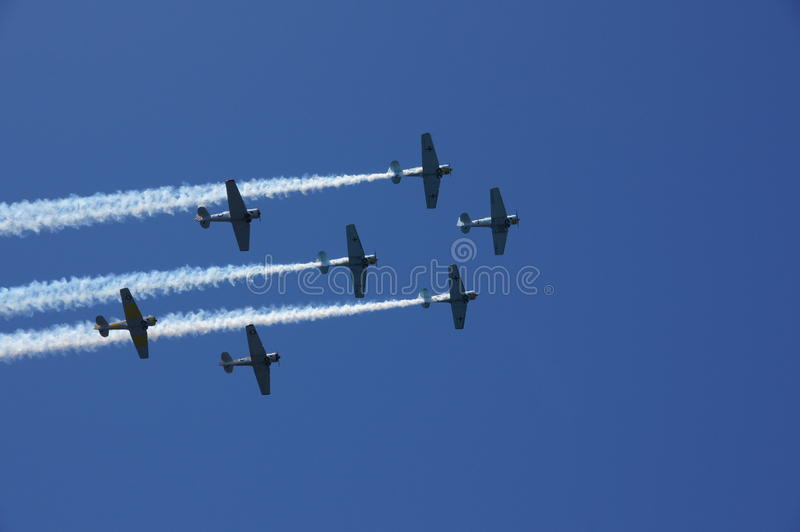 Warbirds Flyover. World War 2 trainers fly over after their mock dogfight stock photos