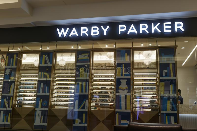 Warby Parker retail glasses store. For every pair of Warby Parker glasses sold, a pair of glasses is given to someone in need royalty free stock photos