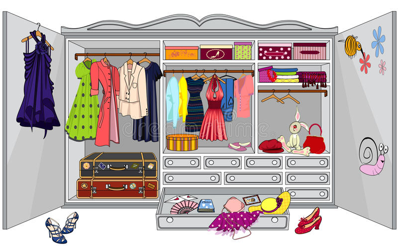 Wardrobe. With womens clothes on a white background - vector illustration vector illustration