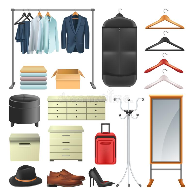 Wardrobe clothes and boxes or hangers vector icons collection set. Wardrobe icons collection of dressing room equipment, Vector isolated fat woman and man vector illustration