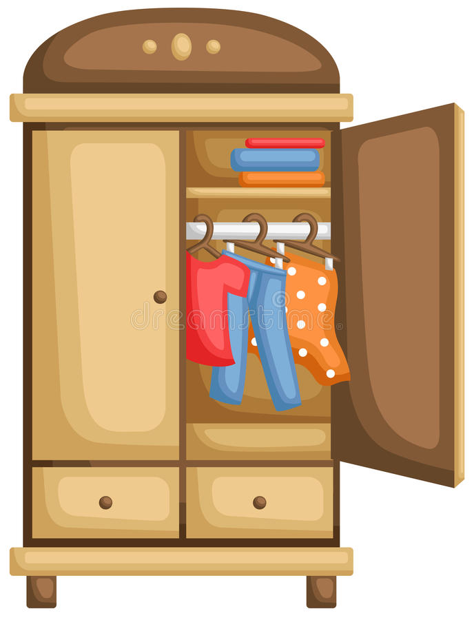 Wardrobe for Clothes stock illustration