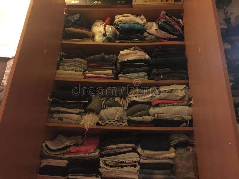 Wardrobe. Colors lines trim clothes royalty free stock photo