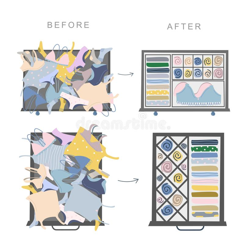 Wardrobe drawer organizer. Before and after drawer organization. Clothes tidying up concept. Wardrobe drawer organizer. Wardrobe inner space. Clothes tidying up vector illustration