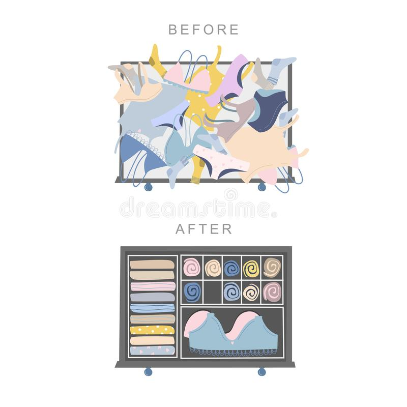 Wardrobe drawer organizer. Before and after tidying up concept. Vector illustration isolated on white royalty free illustration