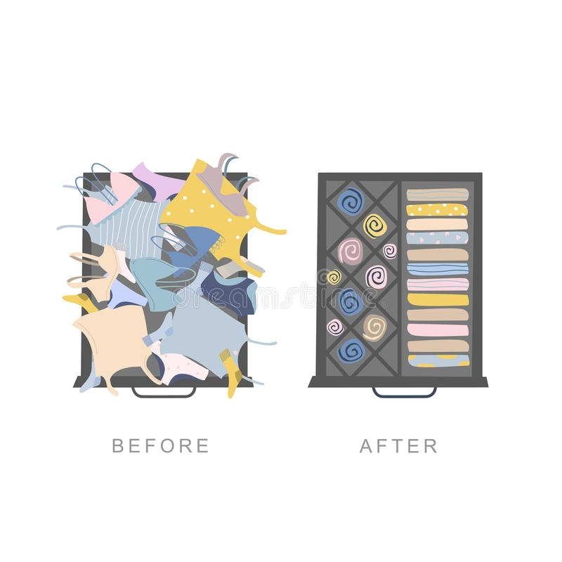 Wardrobe drawer organizer. Before and after tidying up concept. Wardrobe drawer organizer. Before and after clothes tidying up concept. Vector illustration royalty free illustration