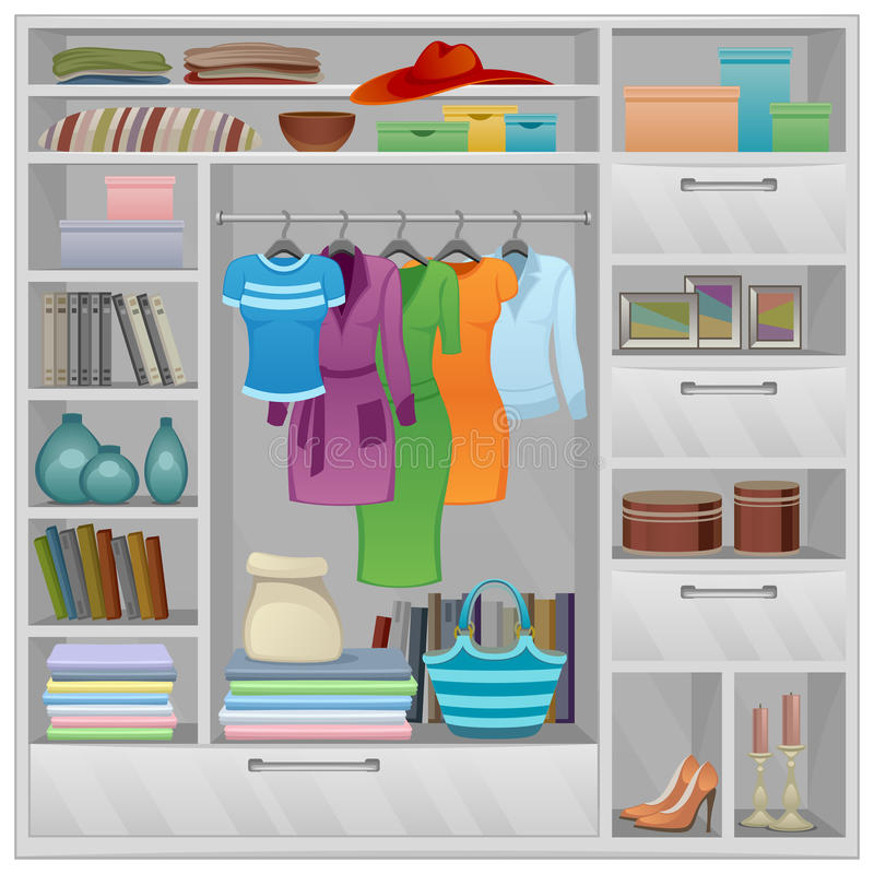 Wardrobe. Filled a variety of things vector illustration