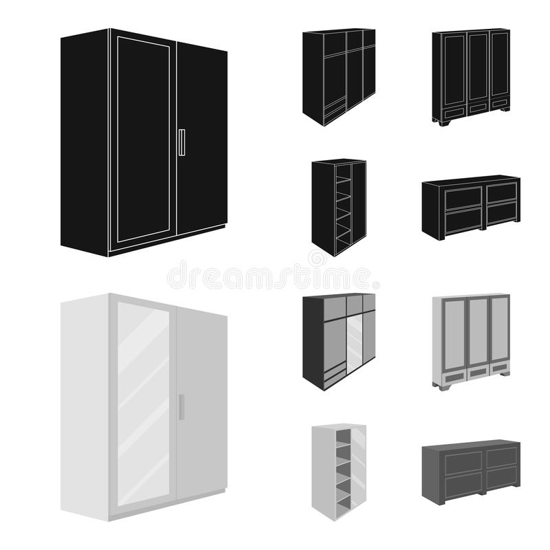 Wardrobe with mirror, wardrobe, shelving with mezzanines. Bedroom furniture set collection icons in black,monochrom. Style vector symbol stock illustration royalty free illustration