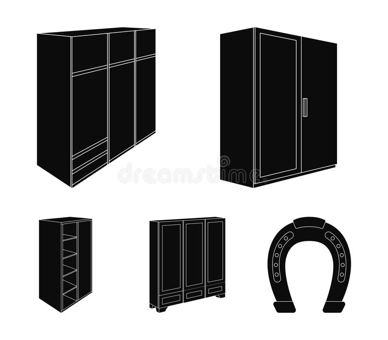 Wardrobe with mirror, wardrobe, shelving with mezzanines. Bedroom furniture set collection icons in black style vector. Symbol stock illustration royalty free illustration