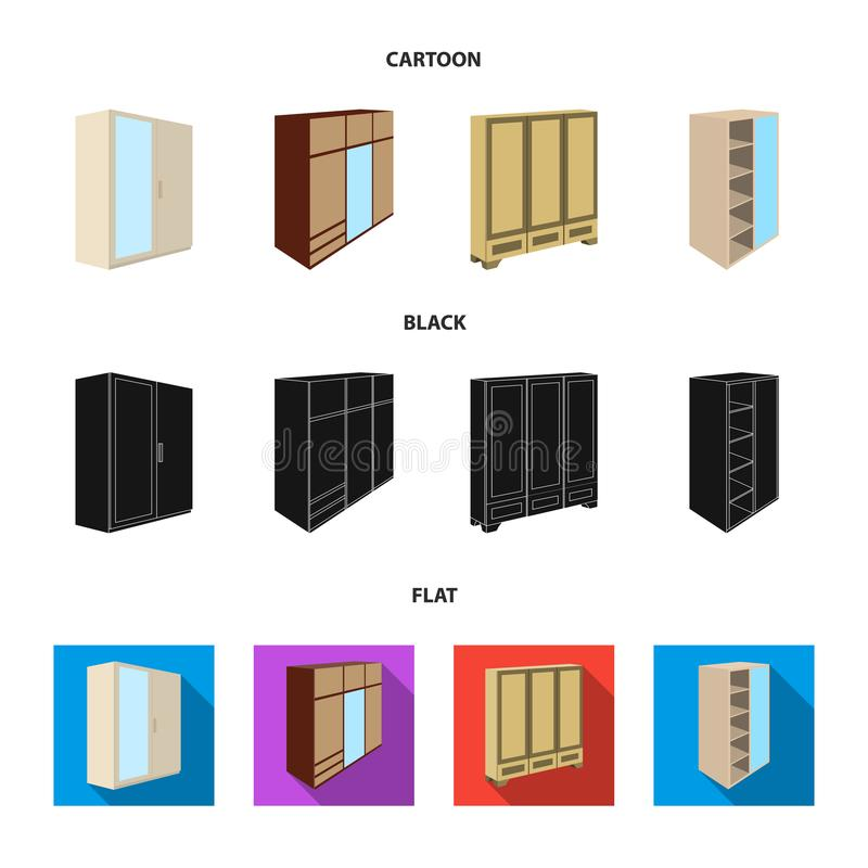 Wardrobe with mirror, wardrobe, shelving with mezzanines. Bedroom furniture set collection icons in cartoon,black,flat. Style vector symbol stock illustration royalty free illustration