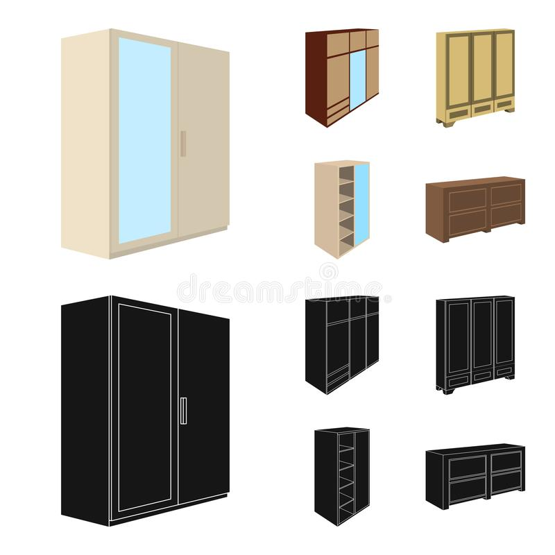 Wardrobe with mirror, wardrobe, shelving with mezzanines. Bedroom furniture set collection icons in cartoon,black style. Vector symbol stock illustration vector illustration